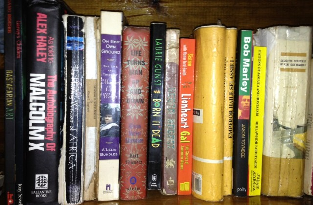 Bookshelf. Zimbali Retreat, Canaan Mountain, Negril, Jamaica.